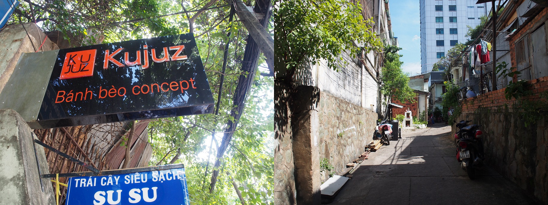 「Kujuz Banh beo concept」の看板と路地の入口