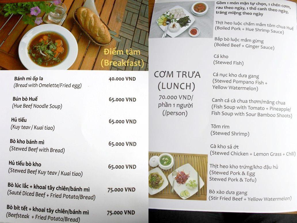 ベトナム料理を中心とした食事メニュー