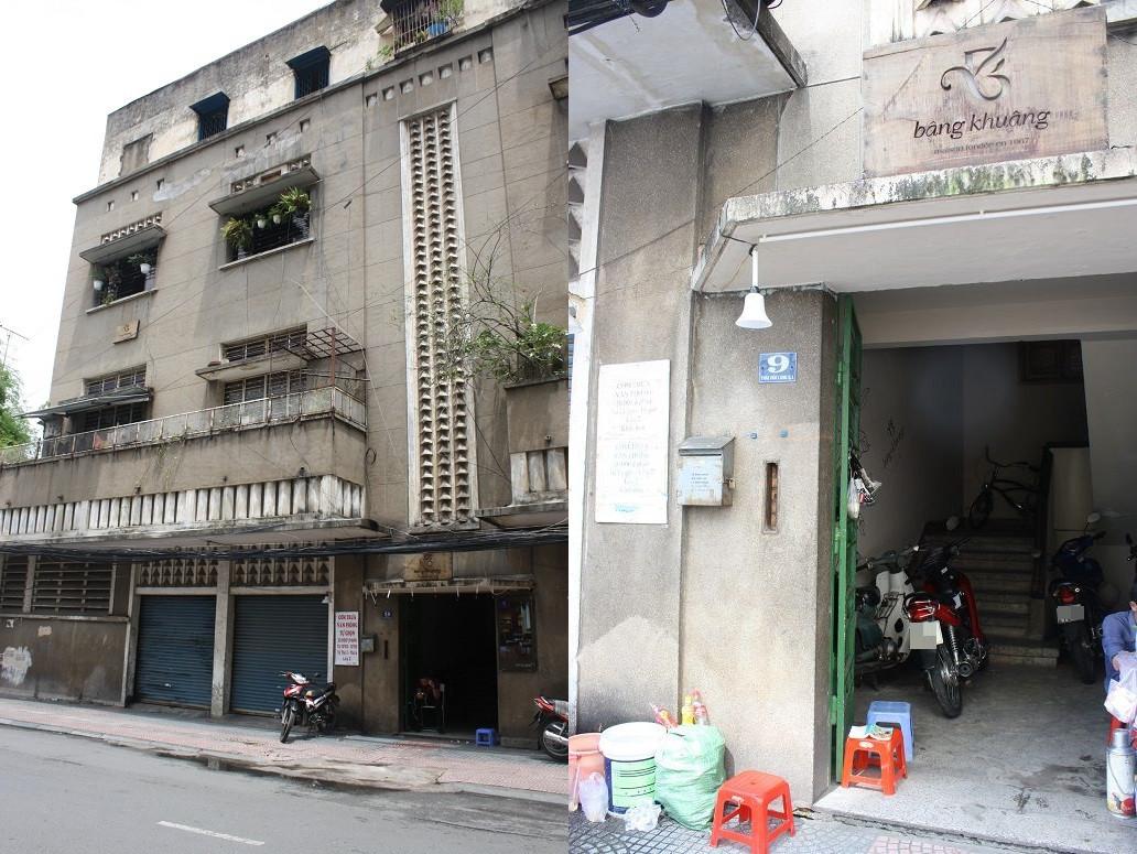 「bang khuang café」の入っている古いアパートの外観と入口