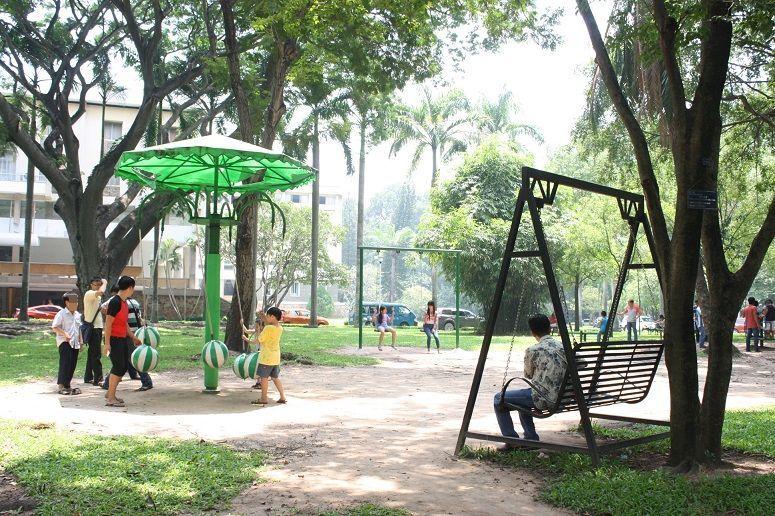 統一会堂の敷地内の公園