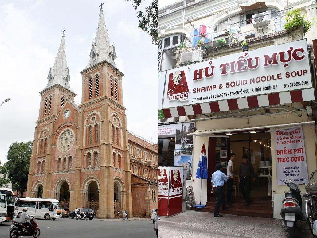 「HU TIEU MUC Ong Gia Cali」の外観とサイゴン大教会