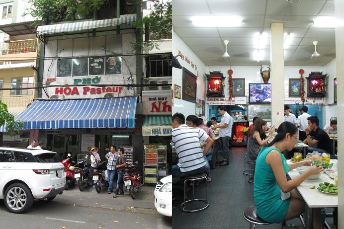 「PHO HOA」の店舗外観と店内の様子