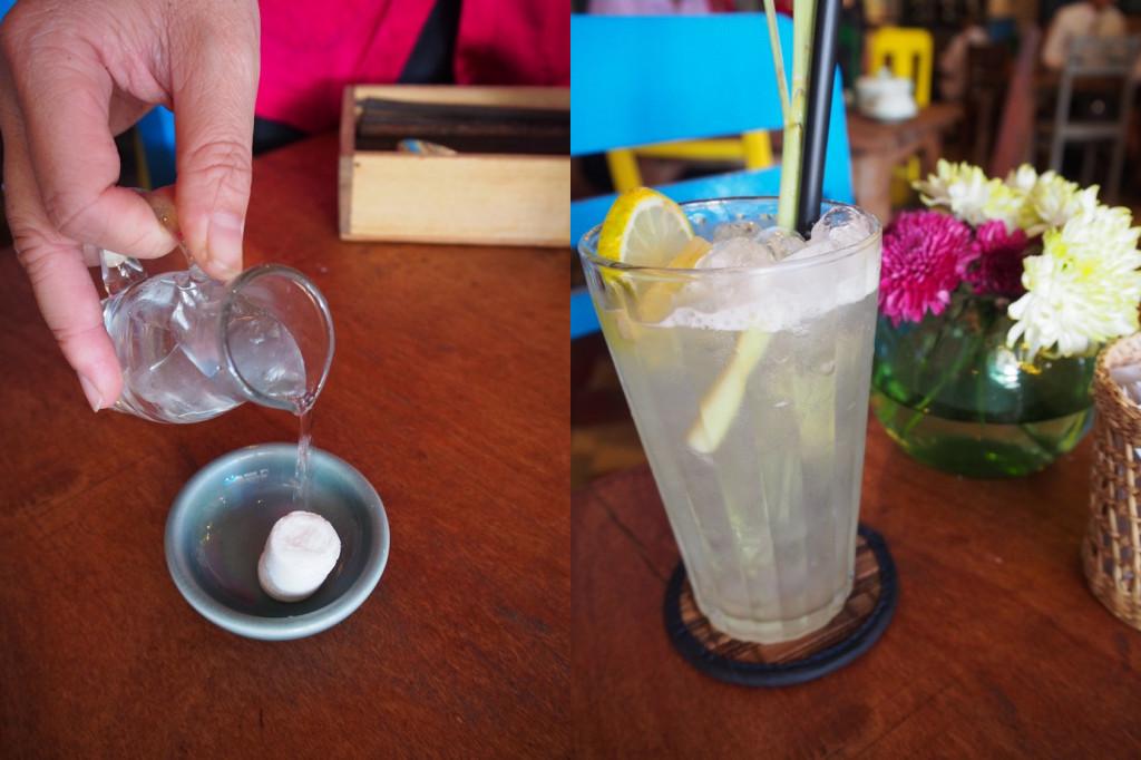おしぼりとレモングラス茶