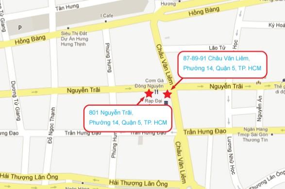 COM GA DONG NGUYEN 1号店と2号店の地図