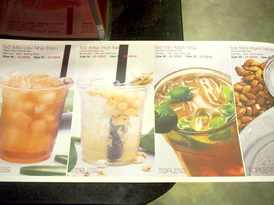 「TOPLESS TEA」のメニュー