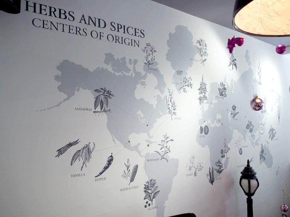 スパイスの産地が描かれた世界地図