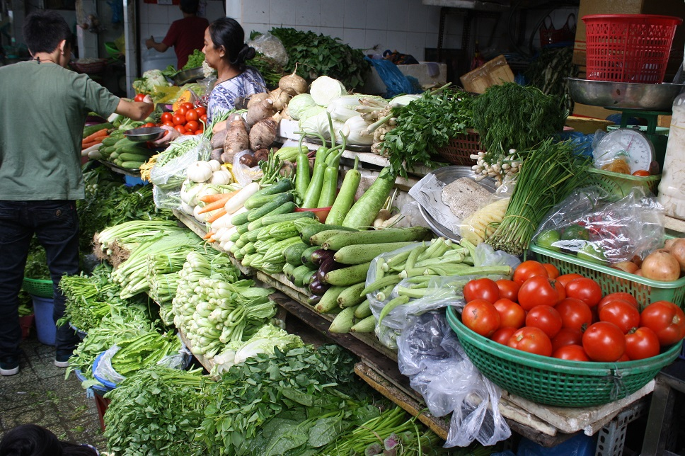 ベンタイン市場の野菜売り場