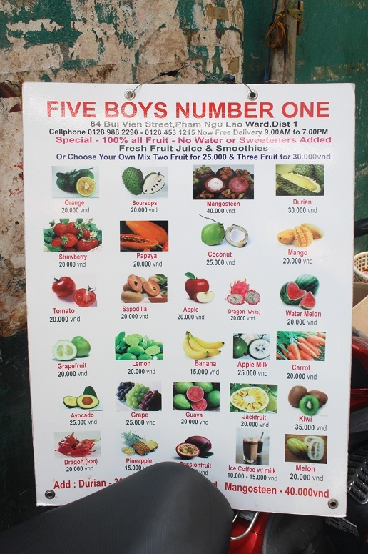 「FIVE BOYS NUMBER ONE」のメニュー