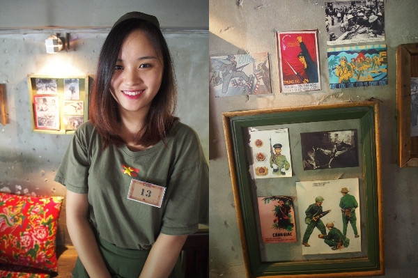 左:グエンフーフアン通り店のスタッフ  右:プロパガンダポスター