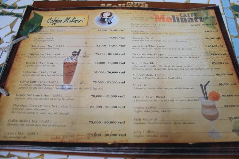 「CAFFE Molinari」のメニュー