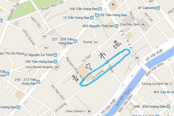 コーヤン通りの青空市場の地図