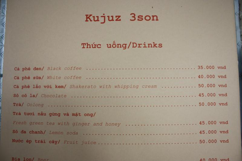 「Kujuz 3 Son」のメニュー