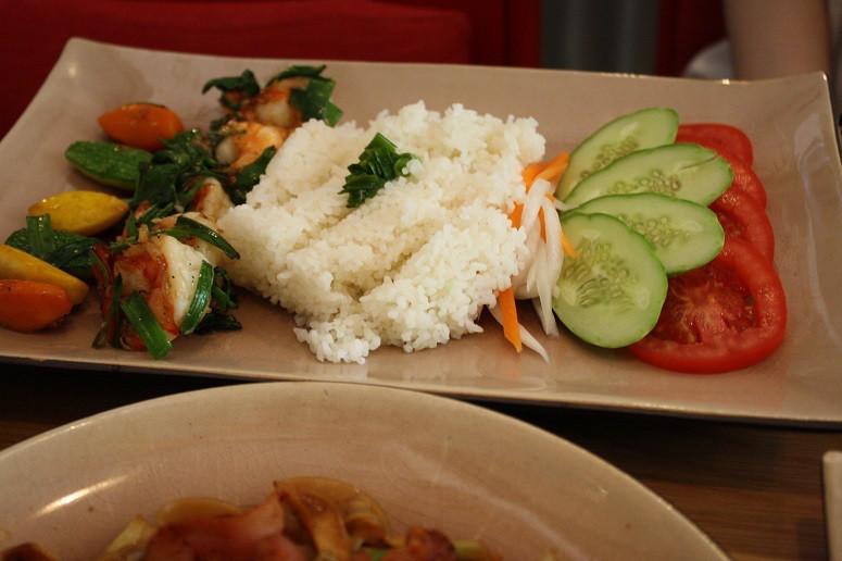Sauteed prawns with Vietnamese basil & coconut broken rice