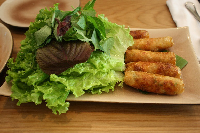 Fried spring rolls with crab , prawn & glass noodles
